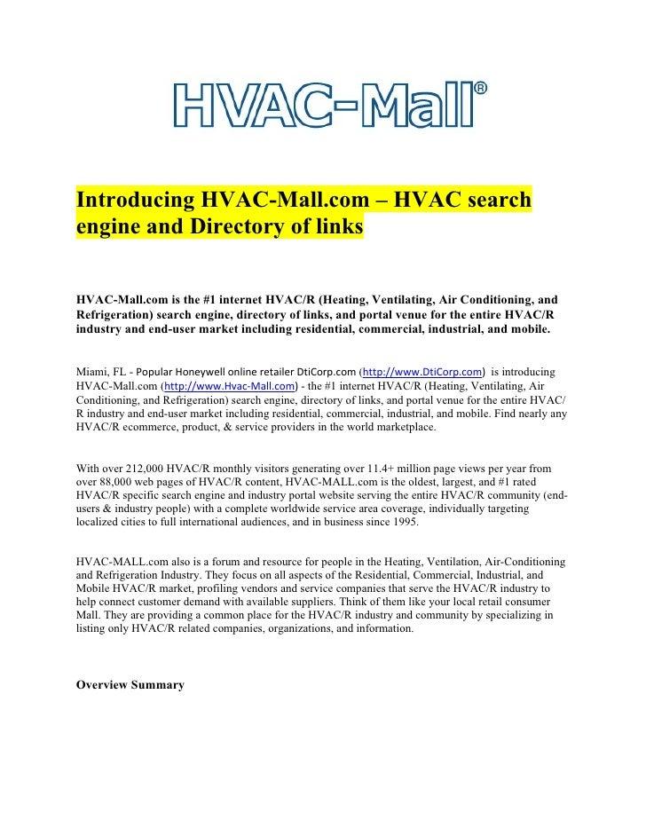 Introducing HVAC-Mall.com – HVAC search engine and Directory of links   HVAC-Mall.com is the #1 internet HVAC/R (Heating, ...