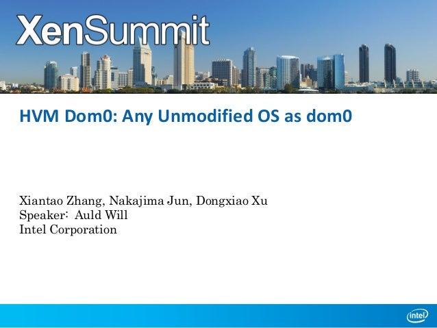 HVM Dom0: Any Unmodified OS as dom0  Xiantao Zhang, Nakajima Jun, Dongxiao Xu Speaker: Auld Will Intel Corporation