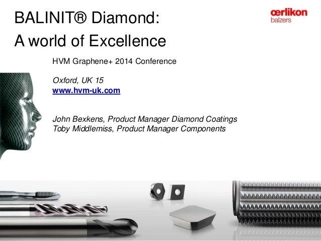 BALINIT® Diamond: A world of Excellence HVM Graphene+ 2014 Conference Oxford, UK 15 www.hvm-uk.com John Bexkens, Product M...