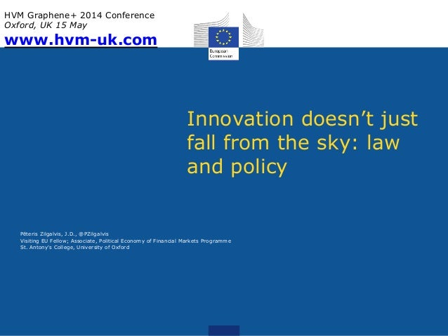 Innovation doesn't just fall from the sky: law and policy Pēteris Zilgalvis, J.D., @PZilgalvis Visiting EU Fellow; Associa...