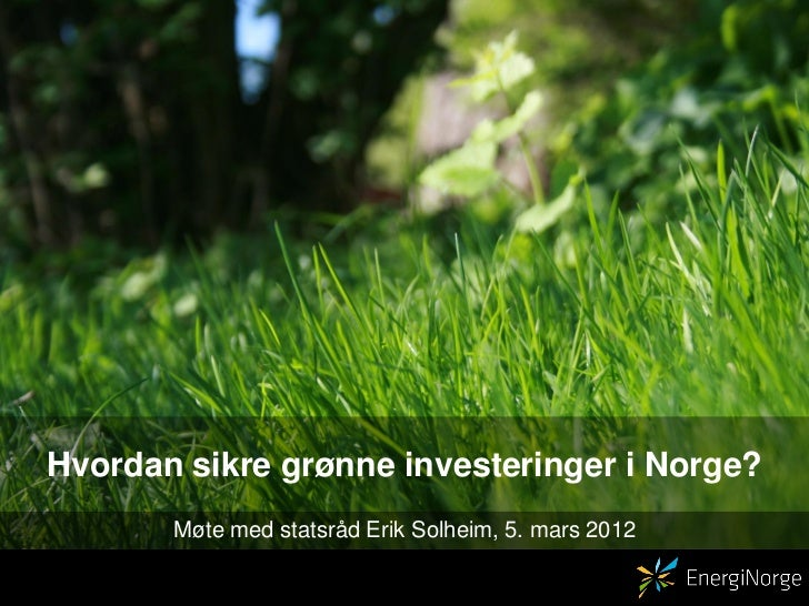 Hvordan sikre grønne investeringer i Norge?       Møte med statsråd Erik Solheim, 5. mars 2012