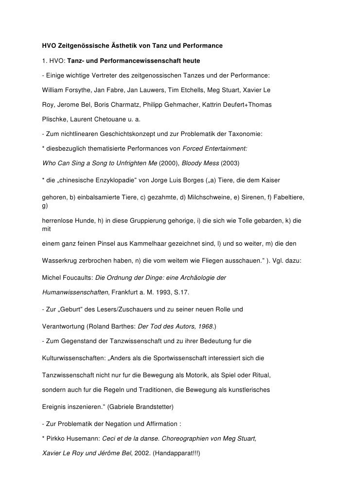 HVO Zeitgenössische Ästhetik von Tanz und Performance  1. HVO: Tanz- und Performancewissenschaft heute  - Einige wichtige ...