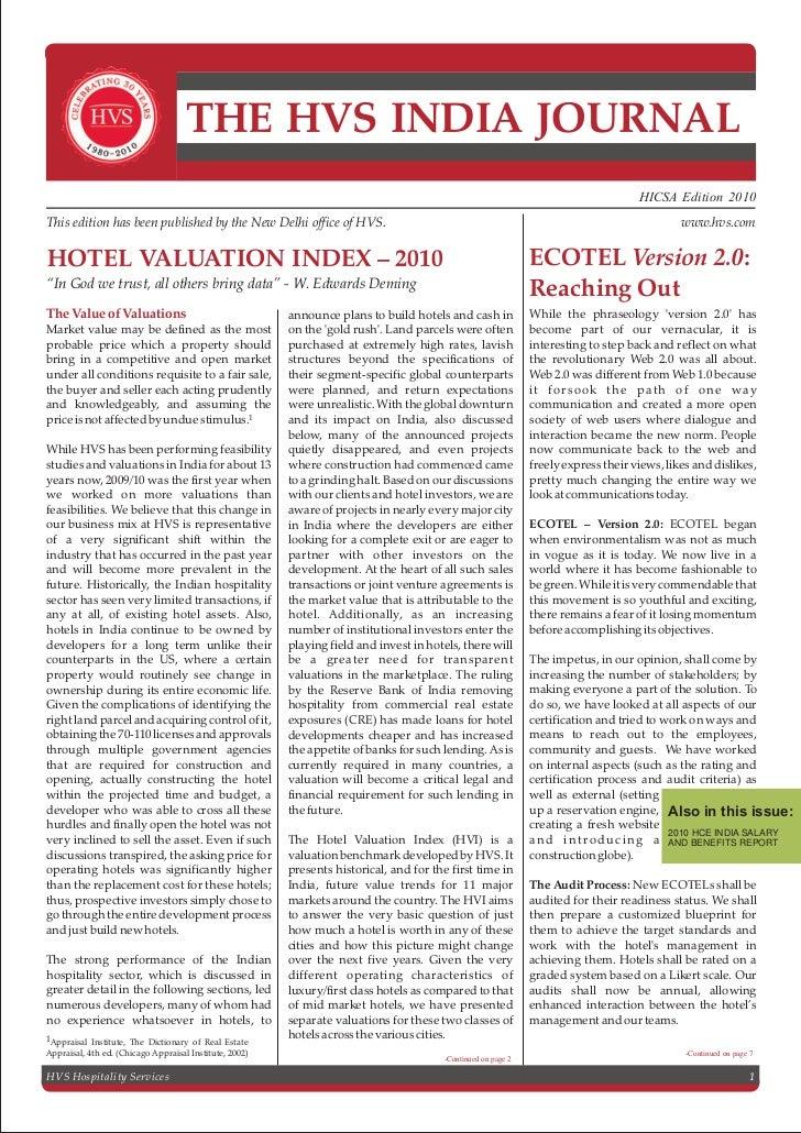 Hvs   india hotel valuation index (hvi) 2010