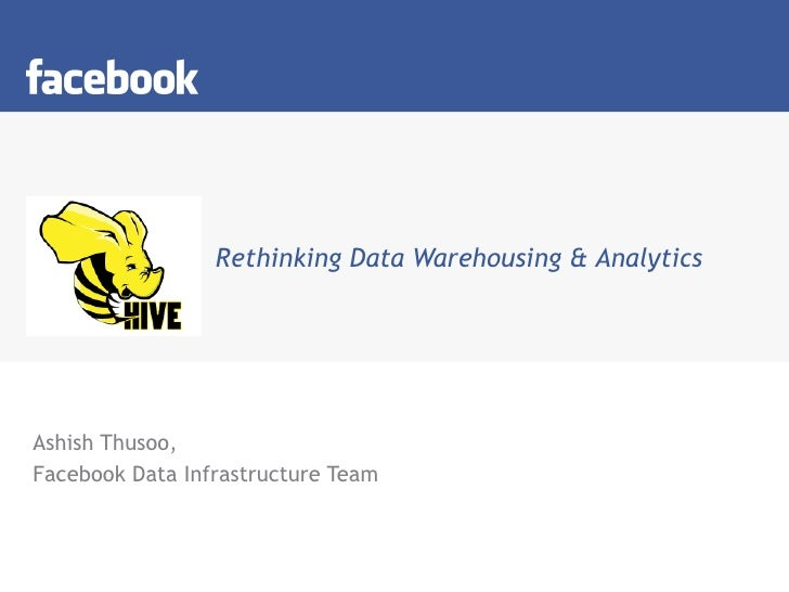 Rethinking Data Warehousing & Analytics Ashish Thusoo, Facebook Data Infrastructure Team