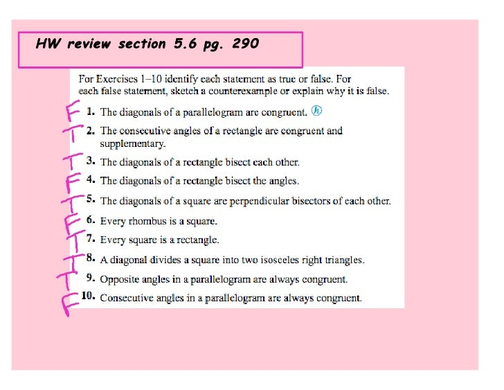 HW review section 5.6 pg. 290