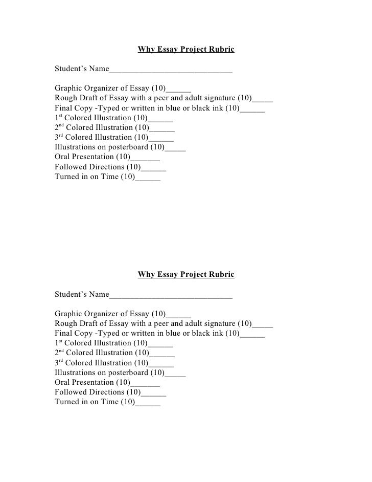 Why Essay Project Rubric  Student's Name_____________________________  Graphic Organizer of Essay (10)______ Rough Draft o...