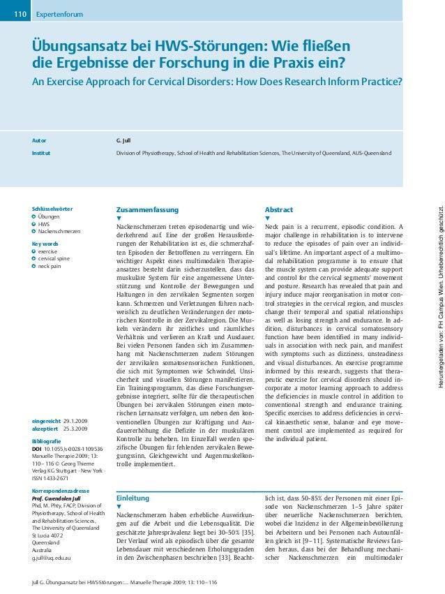 Übungsansatz bei HWS-Störungen: Wie fließen die Ergebnisse der Forschung in die Praxis ein? An Exercise Approach for Cervi...