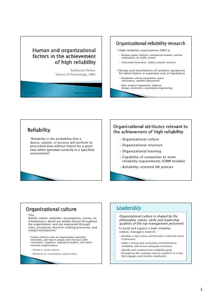 High reliability organizations (HRO's)                                                                          • Nuclear ...