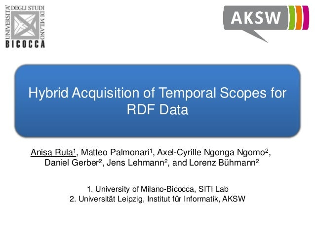 Hybrid Acquisition of Temporal Scopes for RDF Data Anisa Rula1, Matteo Palmonari1, Axel-Cyrille Ngonga Ngomo2, Daniel Gerb...