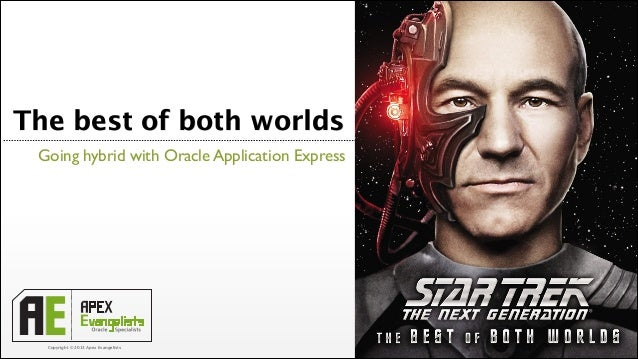 The best of both worlds Going hybrid with Oracle Application Express  Copyright © 2013 Apex Evangelists