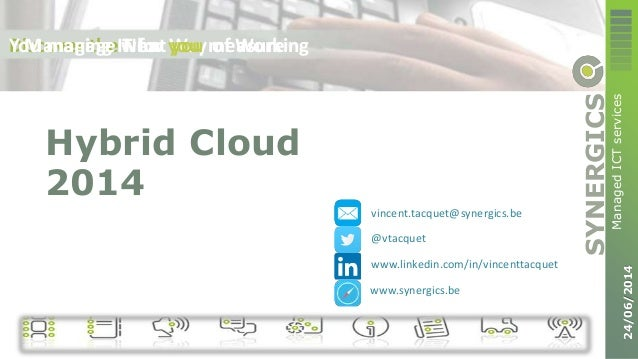 SYNERGICS ManagedICTservices 24/06/2014 Discover the New Way of WorkingYou manage what you measureManaging IT for you Hybr...