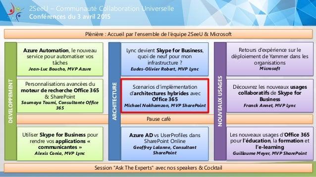 Pause café Conférences du 3 avril 2015 2SeeU – Communauté Collaboration Universelle Plénière : Accueil par l'ensemble de l...