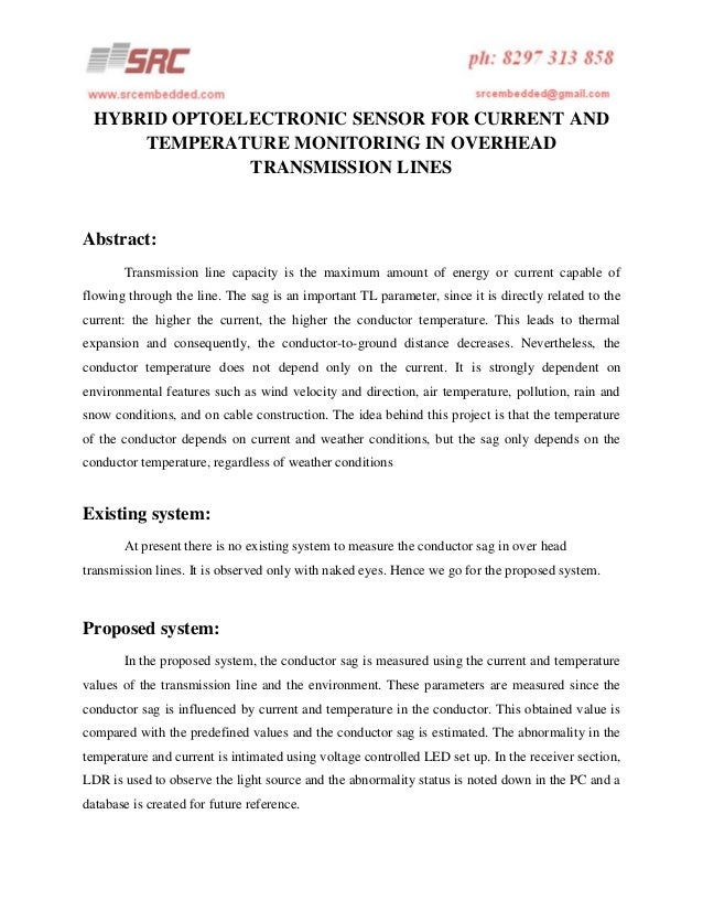 Hybrid optoelectronic sensor for current and temperature monitoring in overhead transmission lines