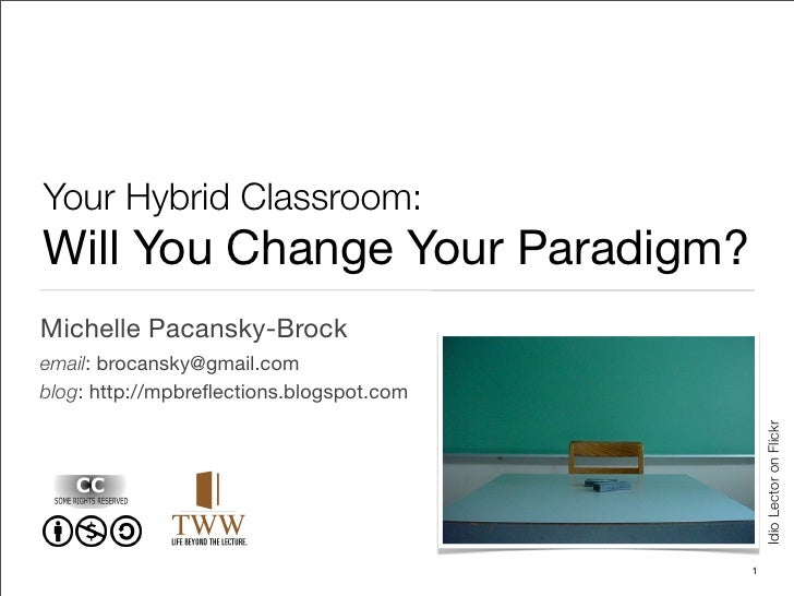 Your Hybrid Classroom: Will You Change Your Paradigm? Michelle Pacansky-Brock email: brocansky@gmail.com blog: http://mpbr...