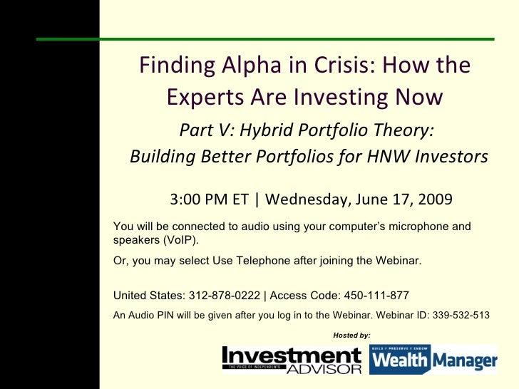 Hybrid Portfolio Theory, 6.17.09
