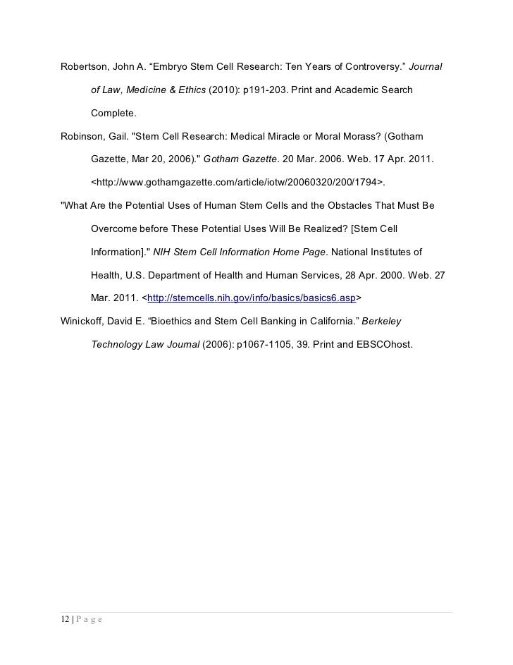 Argumentative essay stem cell research - Cancer Matters