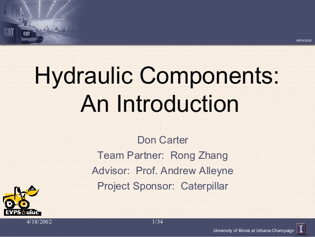University of Illinois at Urbana-Champaign ARG©2002 4/18/2002 1/34 Hydraulic Components: An Introduction Don Carter Team P...