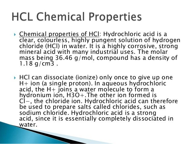 Hcl Solution Physical Properties