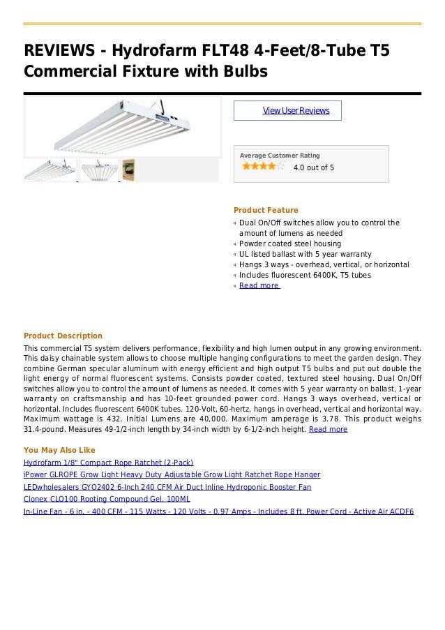 Hydrofarm flt48 4 feet 8-tube t5 commercial fixture with bulbs
