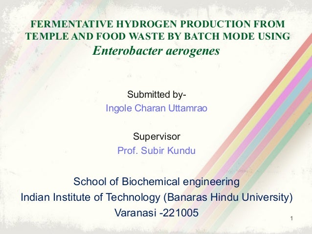 FERMENTATIVE HYDROGEN PRODUCTION FROM TEMPLE AND FOOD WASTE BY BATCH MODE USING Enterobacter aerogenes Submitted by- Ingol...