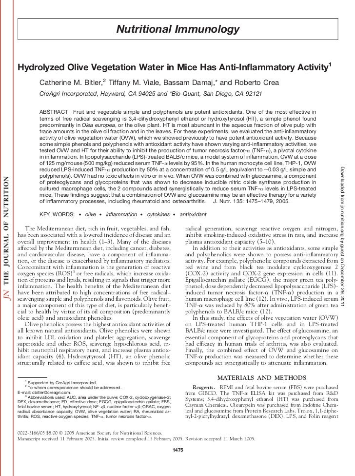Nutritional ImmunologyHydrolyzed Olive Vegetation Water in Mice Has Anti-Inflammatory Activity1           Catherine M. Bitl...