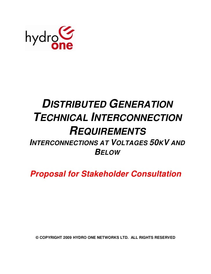 Hydro One Dg Technical Interconnection Requirements   Distribution Interconnections