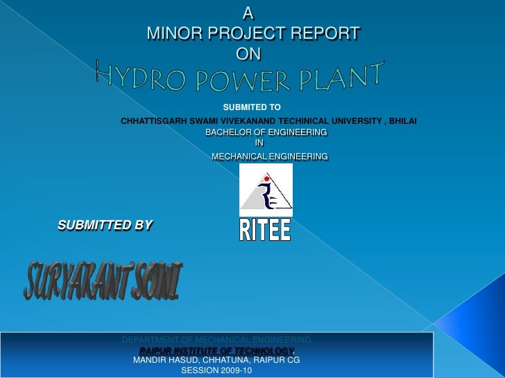 A              MINOR PROJECT REPORT                      ON                               SUBMITED TO         CHHATTISGARH...