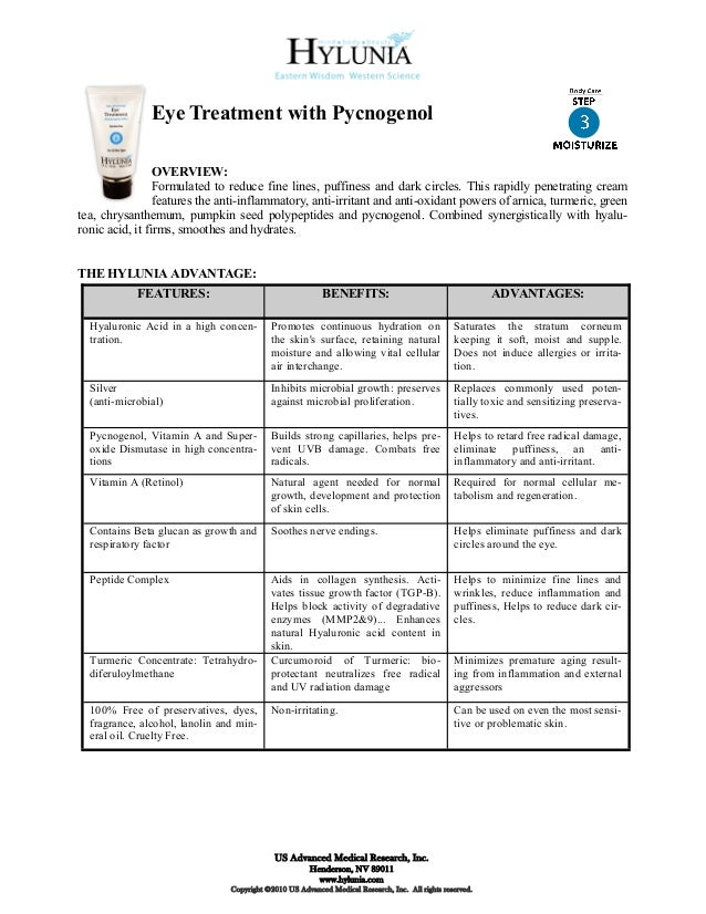 Eye Treatment with Pycnogenol                 OVERVIEW:                 Formulated to reduce fine lines, puffiness and dar...