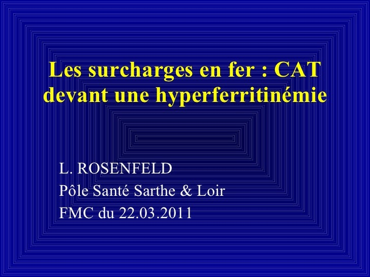Les surcharges en fer : CAT devant une hyperferritinémie L. ROSENFELD Pôle Santé Sarthe & Loir FMC du 22.03.2011