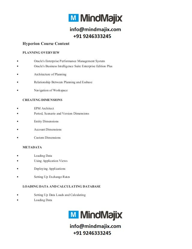 Hyperion Course Content PLANNING OVERVIEW • Oracle's Enterprise Performance Management System • Oracle's Business Intellig...