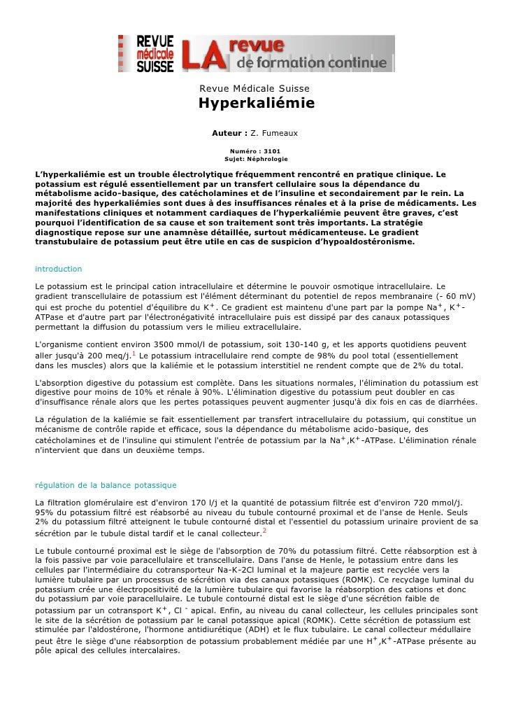 Revue Médicale Suisse                                          Hyperkaliémie                                             A...