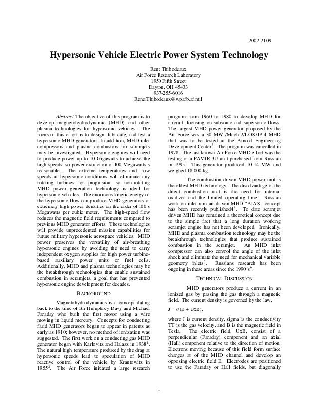 2002-2109 Hypersonic Vehicle Electric Power System Technology Rene Thibodeaux Air Force Research Laboratory 1950 Fifth Str...