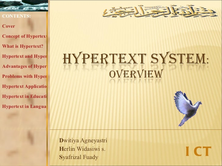 D witiya Agneyastri H erlin Widasiwi s. S yafrizal Fuady CONTENTS: Cover Concept of Hypertext What is Hypertext? Hypertext...