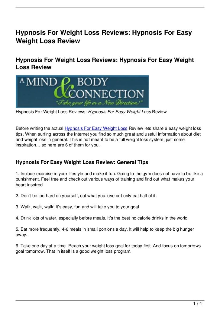 Hypnosis For Weight Loss Reviews: Hypnosis For Easy Weight Loss Review