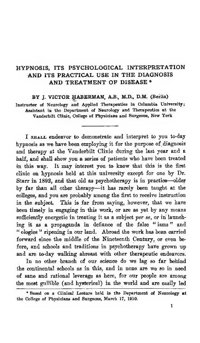 Hypnosis And Treatment of Disease, Free eBook