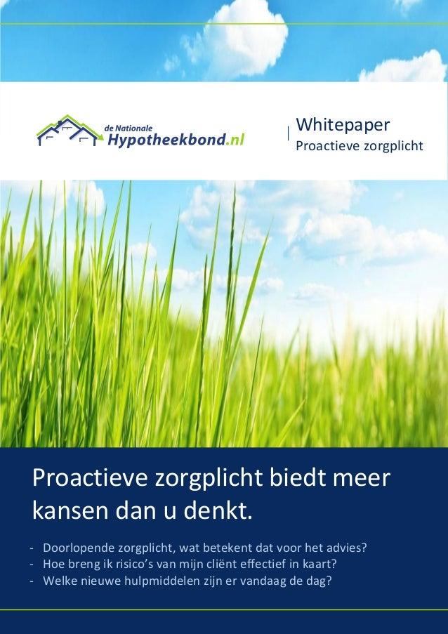 Hypotheekbond CRM - proactieve zorgplicht biedt unieke kans - AFM - WFT - BGFO