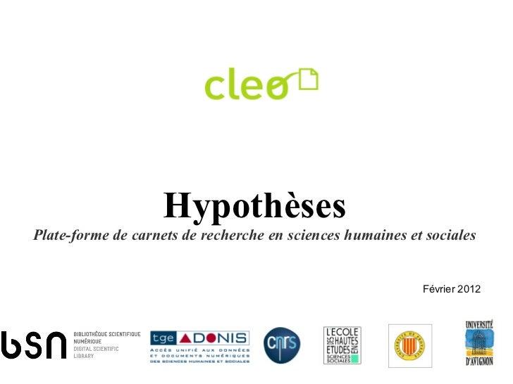 HypothèsesPlate-forme de carnets de recherche en sciences humaines et sociales                                            ...