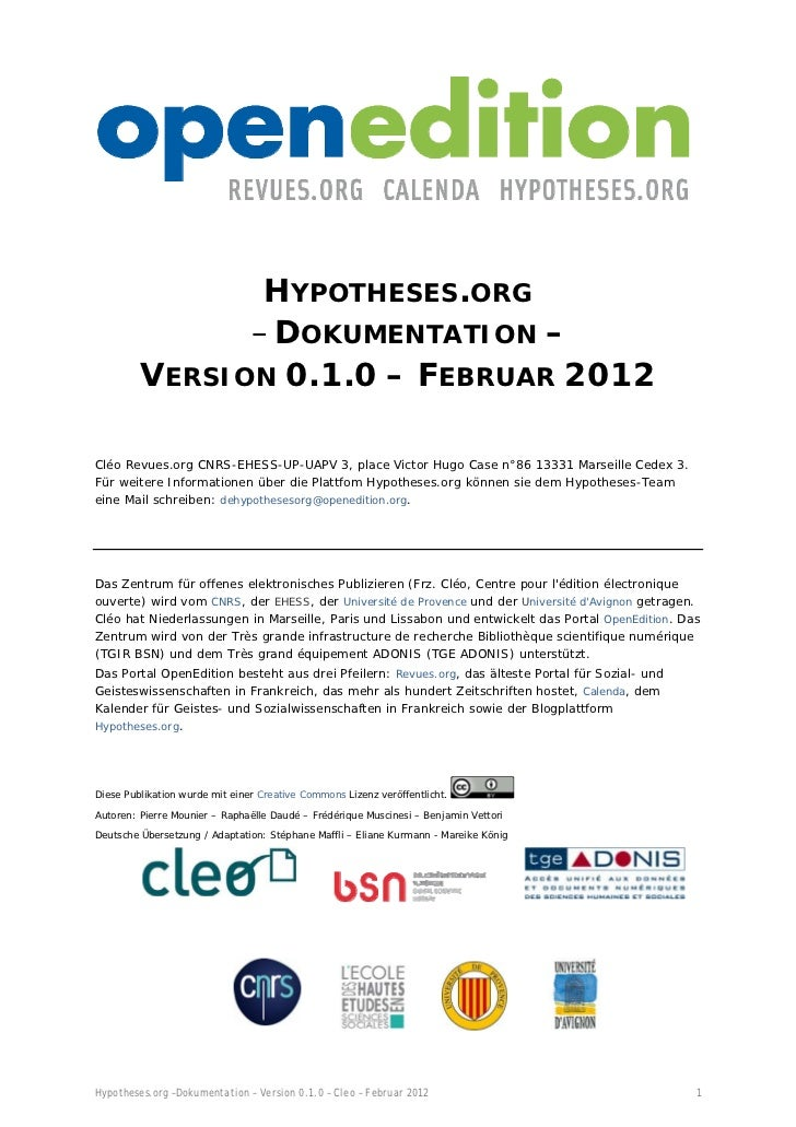 HYPOTHESES.ORG               – DOKUMENTATION –         VERSION 0.1.0 – FEBRUAR 2012Cléo Revues.org CNRS-...
