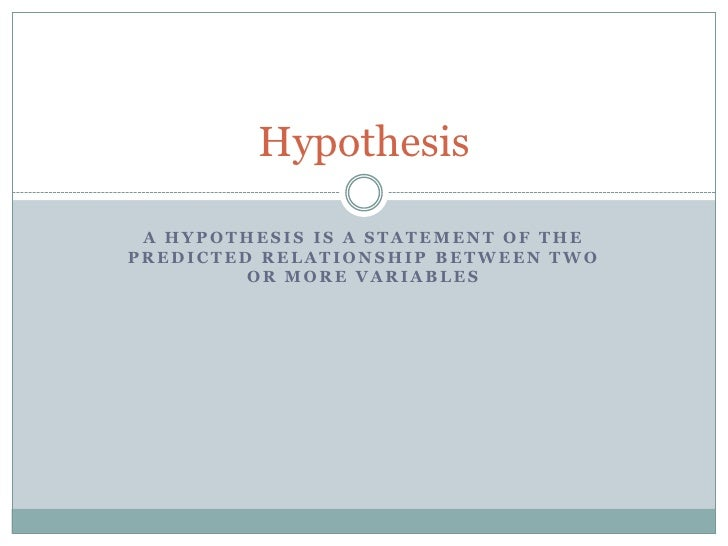 relationship between research objectives and hypotheses statements