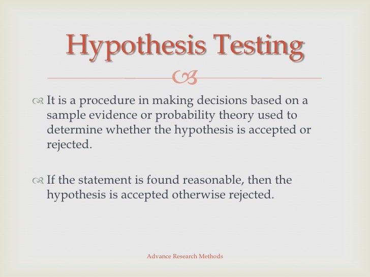 Hypothesis Testing - Operationally defining the study