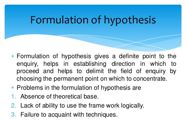 Formulating A Hypothesis In Research