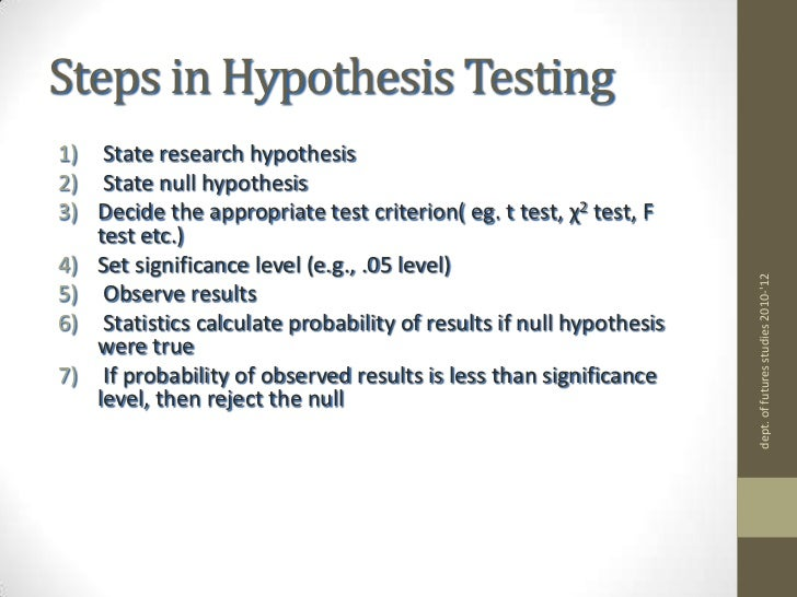 hypothesis testing 5 steps and logic The logic of hypothesis testing the logic of hypothesis testing as just stated, the logic of hypothesis testing in statistics involves four steps.