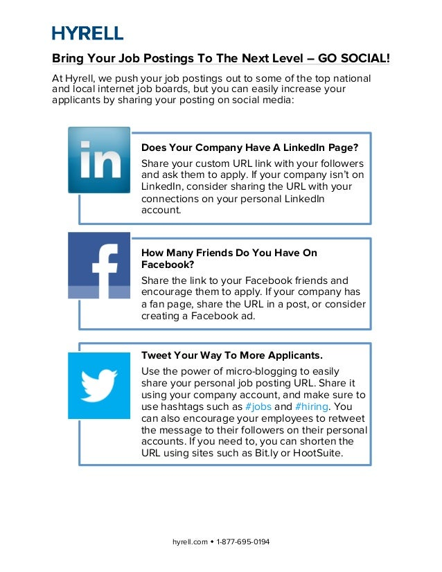 Bring Your Job Postings To The Next Level – GO SOCIAL!At Hyrell, we push your job postings out to some of the top nationa...