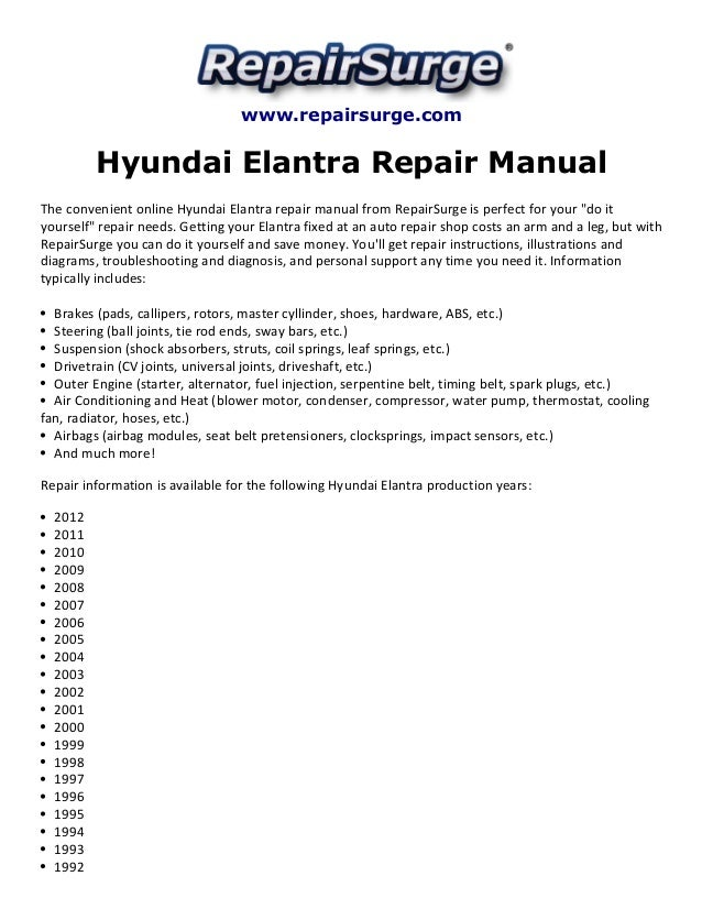 hyundai elantra repair manual 1992 2012. Black Bedroom Furniture Sets. Home Design Ideas