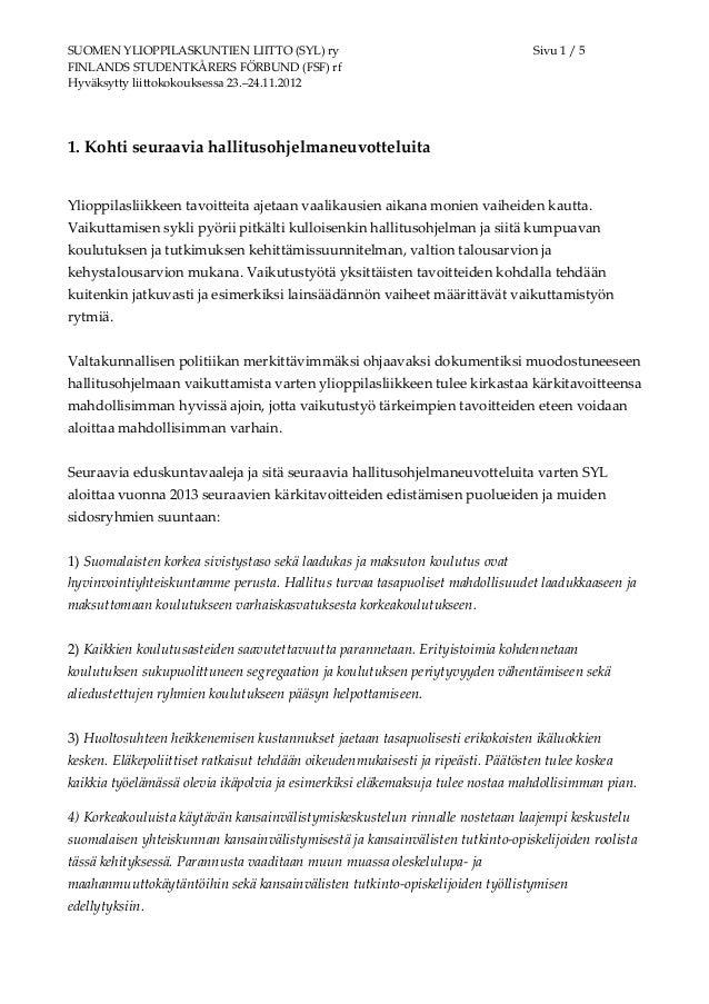 SUOMEN YLIOPPILASKUNTIEN LIITTO (SYL) ry                                          Sivu 1 / 5FINLANDS STUDENTKÅRERS FÖRBUND...