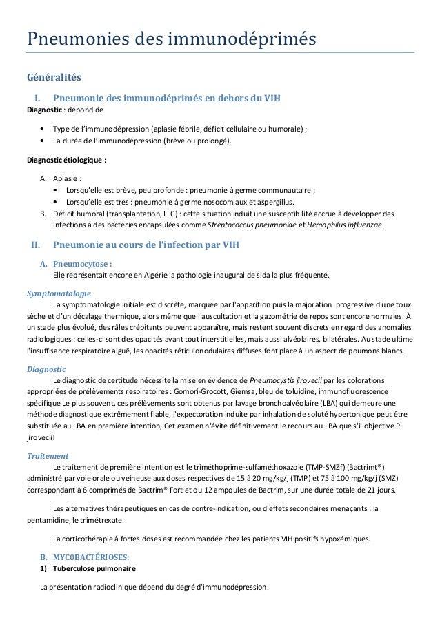 Pneumonies des immunodéprimés Généralités I. Pneumonie des immunodéprimés en dehors du VIH Diagnostic : dépond de • Type d...