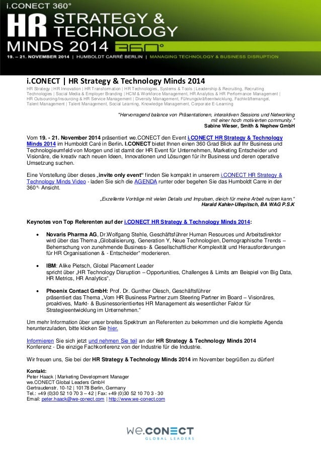 i.CONECT   HR Strategy & Technology Minds 2014 HR Strategy   HR Innovation   HR Transformation   HR Technologies, Systems ...