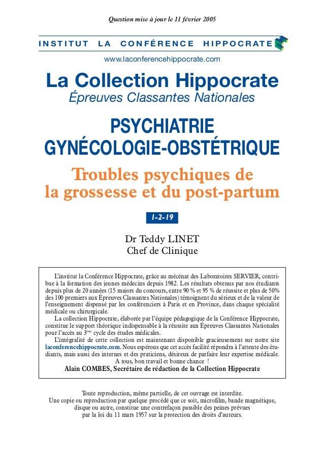 La Collection Hippocrate Épreuves Classantes Nationales PSYCHIATRIE GYNÉCOLOGIE-OBSTÉTRIQUE Dr Teddy LINET Chef de Cliniqu...