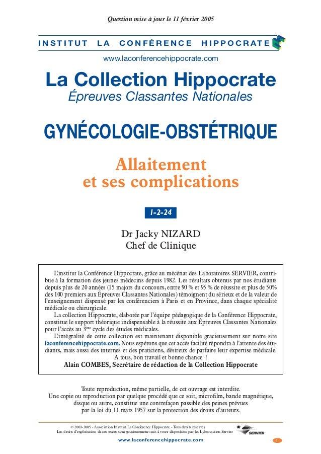 1www.laconferencehippocrate.com © 2003-2005 - Association Institut La Conférence Hippocrate - Tous droits réservés Les dro...