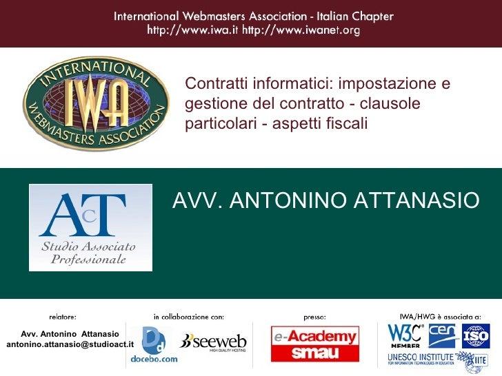 Contratti informatici: impostazione e                                   gestione del contratto - clausole                 ...